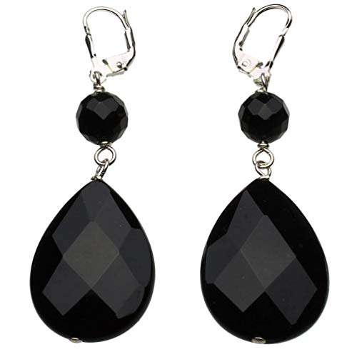 Sterling Silver Faceted Black Onyx Stone Teardrop Round Beads Lever-back Earrings