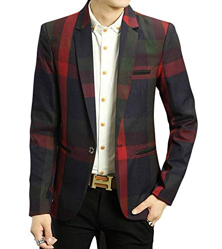 Fashion Modern Suit Giacca Slim Business Men Capispalla Elegante Rot Leisure Fit Giovane Checked Lattice Saoye Blazer 8nOPk0w