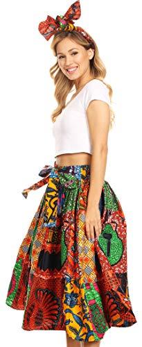 Sakkas 16321 - Celine African Dutch Ankara Wax Print Full Circle Skirt - 20-Multi - OS ()