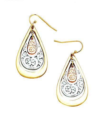 - Nouveau Look Copper-Tone in Silvertone in Goldtone Open Work Filigree Teardrop Dangle Earrings 1 7/8