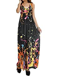 Wantdo Women's Casual Boho V-neck Beach Maxi Dress Plus Size