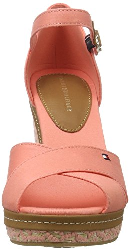 Tommy Hilfiger E1285lena 43d, Sandalias con Cuña para Mujer Rosa (Burnt Coral 619)