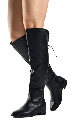 LUSTHAVE Women's Knee High Flat Boots Lace Up Cushioned Lining Drawstring Tall Western Riding Boots Black 8.5