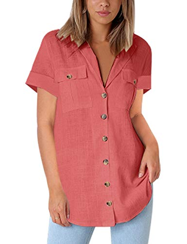 Vetinee Women's Coral Pink Short V Neck Cuffed Sleeve Pocket Shirt Casual Button Up Solid Color Tops Blouse X-Large (US 16-18) ()