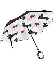 ALAZA Love Heart Dachshund Dog Paw Print Inverted Umbrella, Large Double Layer Outdoor Rain Sun Car Reversible Umbrella