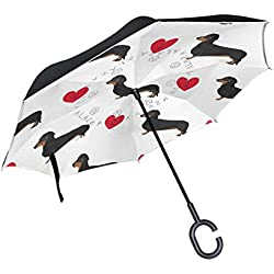 ALAZA Love Heart Dachshund Dog Paw Print Inverted Umbrella, Large Double Layer Outdoor Rain Sun Car Reversible Umbrella