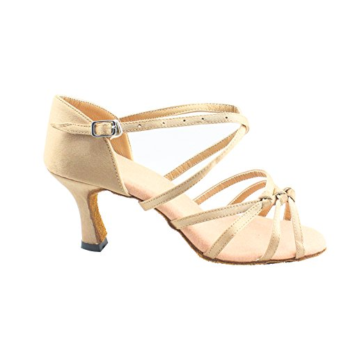 Womens Suede 2.7 Heel Peep Toe Dance Party Shoes Natural sk6peEXL