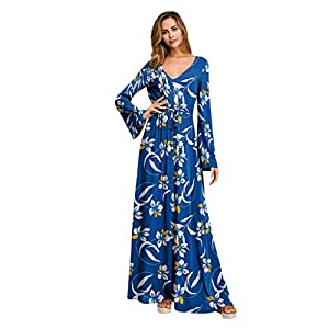 KPILP Women Long Sleeve Maxi Dress Floral Printed V Neck Casual Summer High Waist Long Dresses Ladies Boho Holiday Vacation Beach Chiffon Soft Maxi Dress