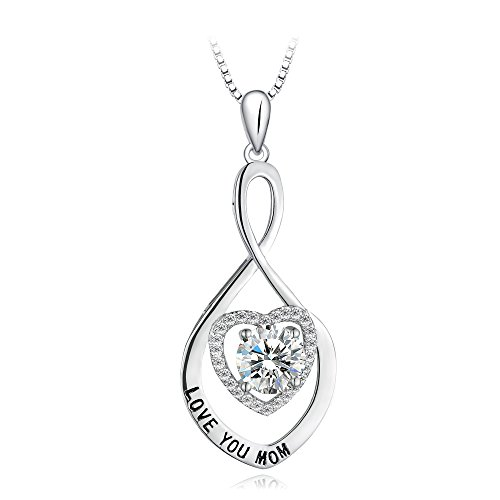 T400 925 Sterling Silver Love You Mom Swarovski Cubic Zirconia Pendan Necklace for Mom Women -