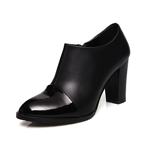 AllhqFashion Damen Gemischte Farbe Hoher Absatz Spitz Zehe Reißverschluss Stiefel, Schwarz, 37