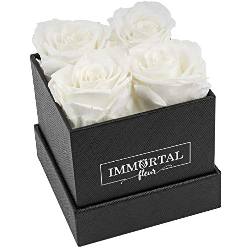 Immortal Fleur Preserved Roses | Fresh Real Flowers Arranged In Elegant Square Box | Last Over a Year | Handmade Gifts For Her: Valentine's Day, Mother's Day, Anniversary & Birthday | White: 4 Roses