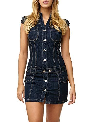 D2518 Corto Casual Jeans Donna Blu Abito Vestito qw8Xvx 6d1a1180bdd