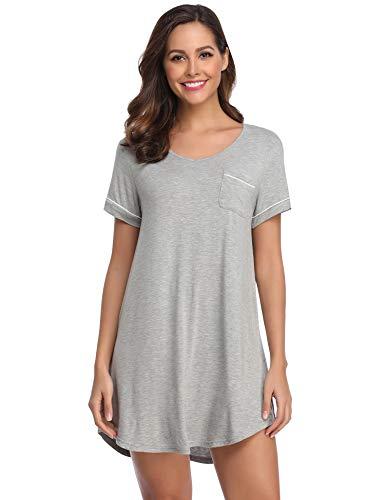 (Lusofie Nightgowns Women Short Sleeve Nightdress Soft Nightshirt Comfy Sleepwear (Light Grey, Large))