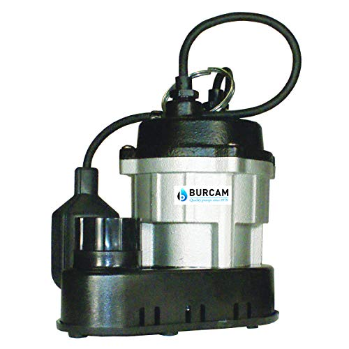 (BURCAM 300781 1/2 HP Cast Iron Submersible Sump Pump Silver)