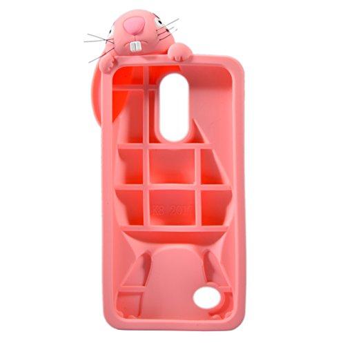 para LG K8 2017 Conejo Funda, Vandot Fashion 3D Lovely Cartoon Buck Teeth Bunny Rabbit Rubber Series Soft Silicone Back Case Cover para LG K8 2017 Case, Protección Silicona Resistente Carcasa Funda Ta Rabbit Rosa