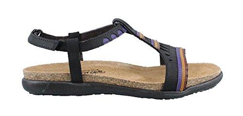 Naot Footwear Women's Odelia Oily Coal Nubuck/Purple Leather Sandal