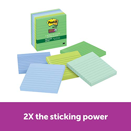 Post-it Recycled Super Sticky Notes, 2x Sticking Power, 4 in x 4 in, Bora Bora Collection, Lined, 6 Pads/Pack, 90 Sheets/Pad (675-6SST) (2 Bora)