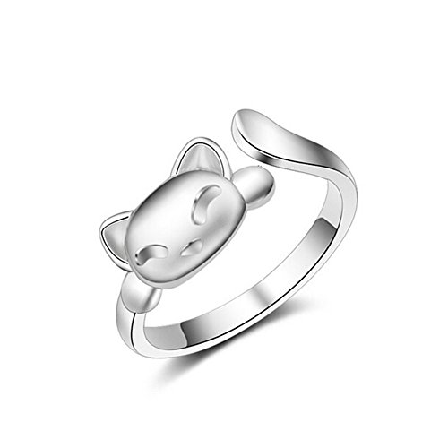 Herebuy8 Women's 18K White-gold Plated Cute Cat Girls Open Ring,Adjustable