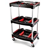 Adam's Standard Detailing Cart - Custom Mobile Rolling Utility Detailing Tool Cart Organizer For Garage DIY Home Projects - Extra Storage Shelving For Mechanics & Detailers During Repairs Car Wash/Wax