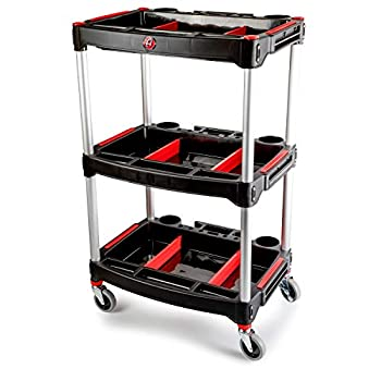 Image of Utility Carts Adam's Standard Detailing Cart - Custom Mobile Rolling Utility Detailing Tool Cart Organizer For Garage DIY Home Projects - Extra Storage Shelving For Mechanics & Detailers During Repairs Car Wash/Wax
