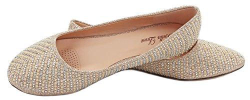 Donne Scintillanti Perla Strass Glitter Maglia Mocassino Slip On Balletto Scarpe Piatte Eleganti Champagne