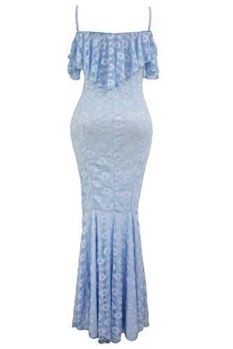 Nueva luz de la mujer Azul Encaje de volantes diseño de vestido de fiesta vestido de oficina CASUAL noche partido desgaste tamaño L UK 12UE 40