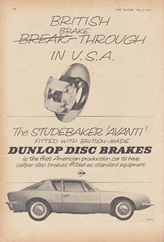 British Brake-Through in the USA Dunlop Disc Brakes Studebaker Avanti ad 1962