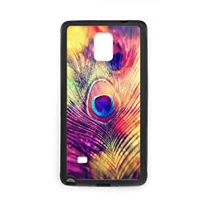 Samsung Galaxy Note 4 Case,Colorful Peacock Feather Hign Definition Wonderful Design Cover With Hign Quality Rubber Plastic Protection Case