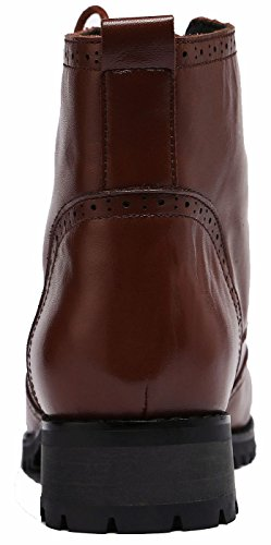 U-lite Womens Lace-up Brogue Lederen Oxford Boots, Herfst Winter Martin Combat Enkellaarzen Caramel