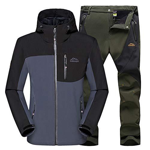 Conjunto Pantalon Gris ejército Transpirables Outdoor Softshell Softshell WANPUL Chaqueta Hombre Pantalones Montaña Montaña Verde Chaqueta qftxwXRBU