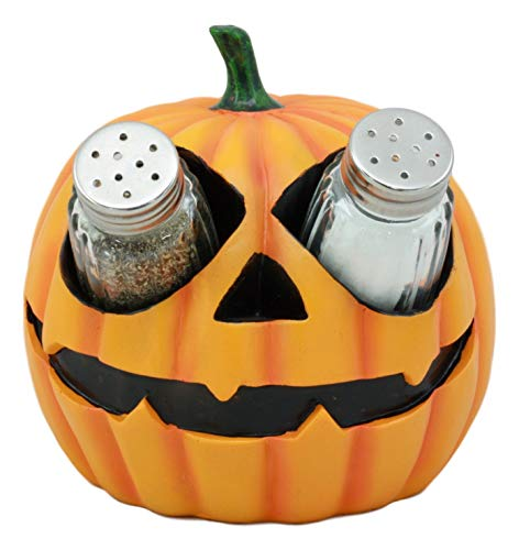 (Ebros Spooky Halloween Pumpkin Salt and Pepper Shakers Set Figurine Holder with Glass Shakers 5.25