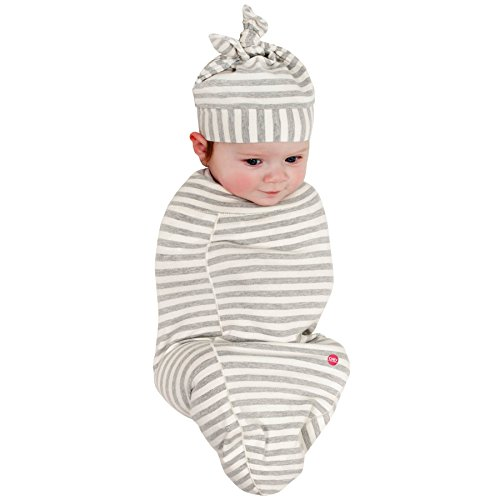 (Cozy Cocoon Baby Cocoon Swaddle and Matching Hat, Gray Stripes, 0-3 Months)