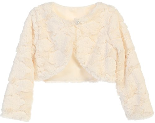 Little Baby Girls Faux Fur Cloud Design Flower Girl Bolero Sweater Jacket Cover Ivory S (SC3K7) by P Dreamer P