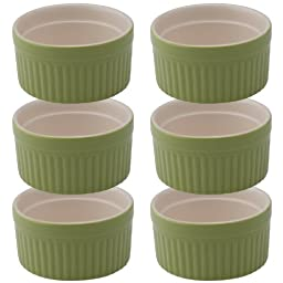 Mrs. Anderson's Baking Ceramic 6-Ounce Souffle Dish, Sage, Set of 6