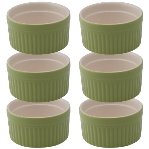 Mrs. Anderson's Baking Souffle, Ceramic Earthenware, Sage, Set of 6, 3.75-Inch, 6-Ounce Capacity by Mrs. Anderson's Baking