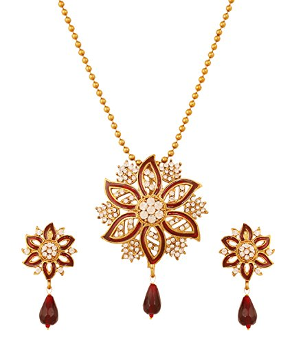 Touchstone Indian Bollywood White Rhinestone Exotic meenakari Enamel Beautiful Floral Theme Grand Designer Jewelry Pendant Set for Women in Antique Gold -