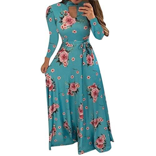 Women Formal Cocktail Polka Dot Dress Puse Size,Ladies Casual Button Down Flowy Digital Swing Long Dresses Sunmoot Blue