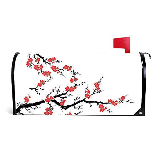Yilooom Cherry Blossom Tree Asian Botanic Themed Pattern Mailbox Cover Magnetic Mail Box Wrap Yard Garden Decor 17.25 X 20.75 Inches Blossoms Magnetic Mailbox Cover
