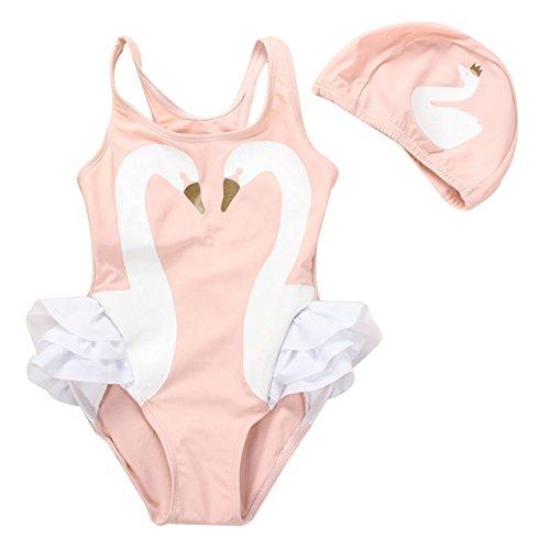 Baby Girl Swimsuit Cute One Piece Swimwear Swim Hat Toddler Kid swan L
