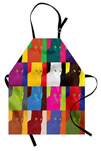 Lunarable Cat Apron, Pop Art Style Featured Fractal Kitty Portraits Frame with Color Effects Artsy Print, Unisex Kitchen Bib Apron with Adjustable Neck for Cooking Baking Gardening, Multicolor