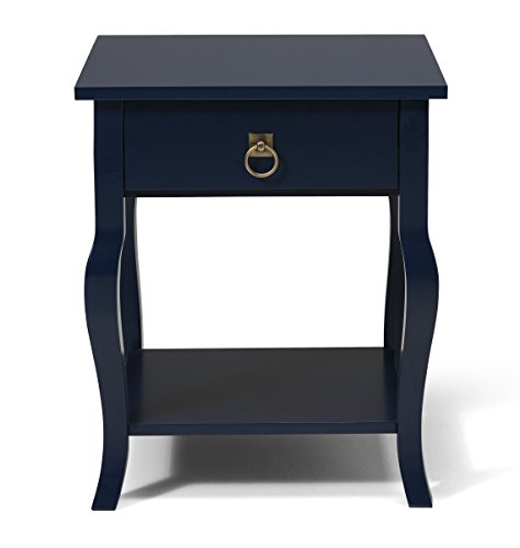 Navy Blue End - Kate and Laurel Lillian Wood Side Table Curved Legs with Drawer and Shelf, 20