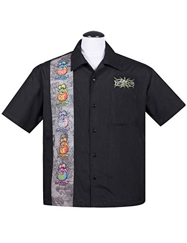 (Rat Fink Five Finks Panel Button Up 50's Bowling Shirt HEMD Rockabilly (3X))