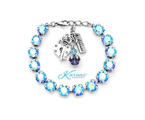 (LIGHT SAPPHIRE SHIMMER 8mm Charm Bracelet Made With Swarovski Crystal *Choose Finish & Size *Karnas Design StudioTM)
