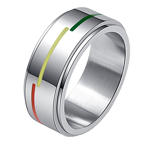 Unisex Stainless Steel Silver Tone Rainbow Flag Spinner Ring Gays and Lesbians LGBT Pride Band 8mm Size 9 ()