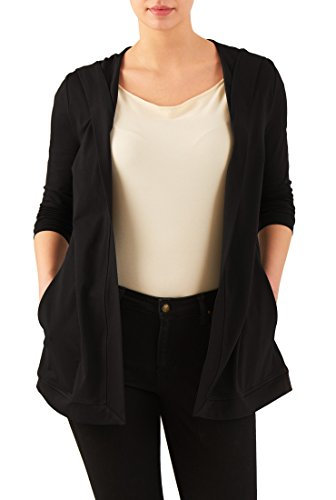 eShakti Women's Cotton knit hooded cardigan 3X-24W Regular