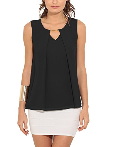 Eliacher Women Summer Casual Sleeveless Tops Shirts Front Pleated Chiffon Blouse