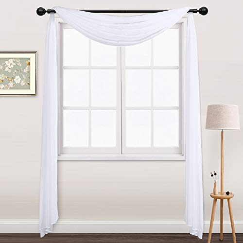 (NICETOWN Sheer Curtains Panels 216 - Home Decoration Sheer Voile Scarf Valance for Wedding (1-Pack, W60 x L216, White))