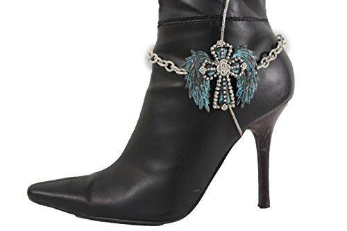 Angel Wings Costume Party City (TFJ Women Western Boot Chain Bracelet Silver Metal Angel Wings Shoe Cross Charm Turquoise Blue)