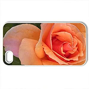 pink rose - Case Cover for iPhone 4 and 4s (Flowers Series, Watercolor style, White)