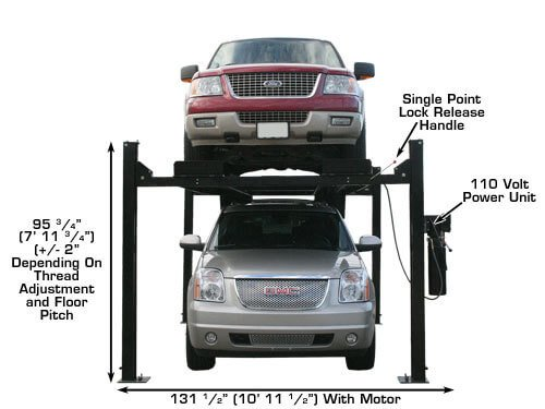 Atlas Garage Pro 9000 Portable Heavy Duty 9000 Lb Capacity 4 Post Lift (EXTRA TALL, EXTRA WIDE)